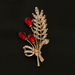 Vintage Flower Brooches Pins In Red Ruby And White Diamond 18k Yellow Gold Over