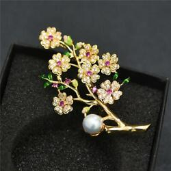 Beautiful Flower Brooches Pins For Plum Pearl,sapphire And Diamond 14k Yellow Over
