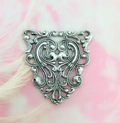 Antique Silver Crest Scroll Shield Filigree Stamping - Jewelry Finding Cb-3041