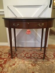 19th C English Regency Table Desk Vanity Brown Leather Top Oval One Drawer