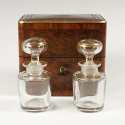 Antique French Perfume Caddy Burl Wood And Brass Inlay Box Baccarat Scent Bottles