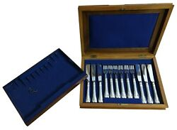 Dining Room Victorian Silver Part Fish Service, London, 1865 6 Knives, 6 Forks