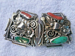 Tom Ahasteen Navajo Turquoise Coral And Siver Menand039s Watch Tips