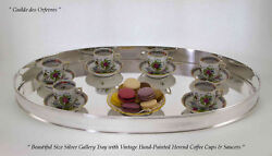 Silver Oval Gallery Tray Set Of 6 Vintage Coffee Cup And Saucer Herend