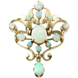 Vintage 18 Karat Yellow Gold Over 4.12 Cts Opal Fine Pins And Brooches For Unisex