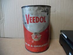 1 Veedol 5 Med Grease Tin Can Flying A Tide Water Oil Co Gas Station Man Cave