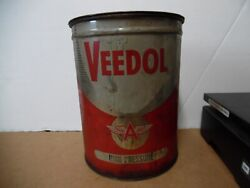 2 Veedol 5 High Pressure Grease Tin Can Flying A Tide Water Oil Co Gas Station