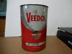 5 Veedol 5 Grease Tin Can Flying A Tide Water Oil Co Gas Station Man Cave