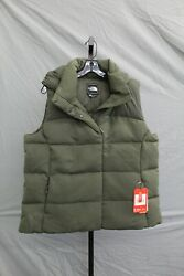 The Novelty Nuptse Goose Down Hooded Vest Womenand039s Size Xl Olive New