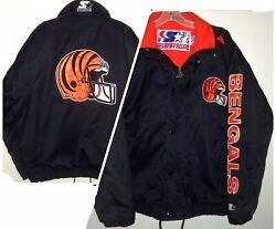 Vintage 90's Cincinnati Bengals Nfl Starter Spell-out Insulated Quilted Jacket L