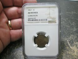 1867 Indian Head Small Cent In Ngc About Uncirculated Condition