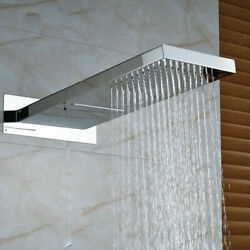 21 Brushed Nickel Rectangle Rain Shower Head Taps Spray Spout Faucet Wall Mount