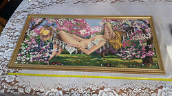 Embroidery Handmade Needlepoint Nude Picture With An Antique Gold Frame