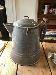 Large Antique Agate Ware Enamel Gray Granite Coffee Pot Cowboy With Lid And Bail
