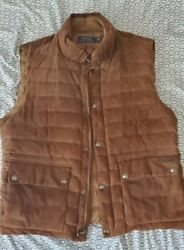 Pre-owned Polo Hunter Brown Quilted Suede Down Vest Men's