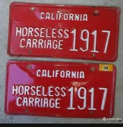 Antique Collectible Horseless Carriage License Plates Pair