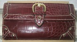 Unique-vintage-utx-burgundy-faux Alligator Skin Womanand039s Wallet 6 1/2and039 X 3 1/2