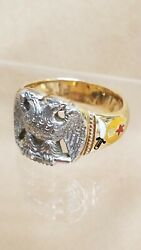 Masonic/shriners Double Headed Eagle 32nd Degree 14k Yellow Gold Ring Size 11.25
