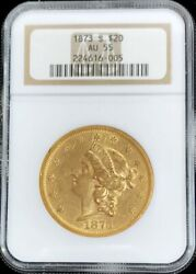 1873 S Closed 3 Gold 20 Liberty Double Eagle Coin Ngc About Uncirculated 55