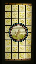 Large Old English Leaded Stained Glass Window Lovely Hand Painted Owl 17.25x34