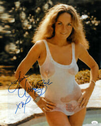Catherine Bach Signed Sexy Wet-t-shirt Metallic 16x20 Photo Love- Jsa Witnessed