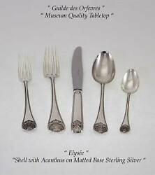 Sterling Flatware 5-pc Place-setting Elysandeacutee-wonderful Shell On Matted Base