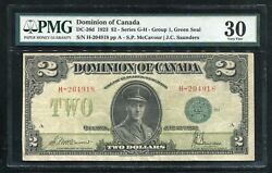 Dc-26d 1923 2 Dominion Of Canada Banknote Green Seal Pmg Very Fine-30