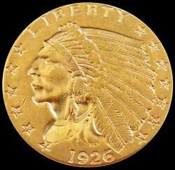 1926 Gold United States 2.5 Dollar Indian Head Quarter Eagle Coin