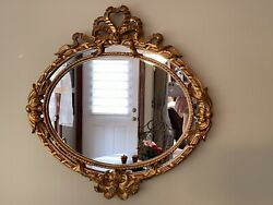 French Louis Xvi Style Double Frame Oval Mirror Bow Ribbon Made In Italy