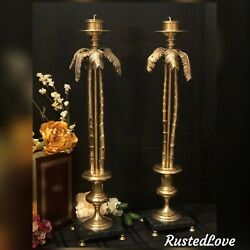 Palm Tree Candle Holders Decorative Crafts Vintage Solid Brass Tall - Pair
