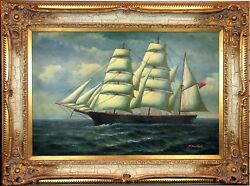 """Fine 1900s Antique H. Parker """"on The High Seas""""clipper Sea Ship Oil Painting"""