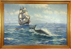 Original H. Silva Fernandes Andlsquoharpooning A Whaleandrsquo Moby Dick Theme Oil Painting