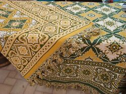 Beautiful Thick Woven Cotton Bedspread Reversible Gold Green 102 X 98 Tassels