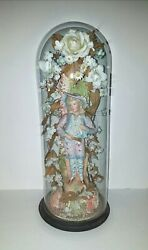 Antique Victorian Bisque Figurine Under 18 Glass Dome With Flowers Roses