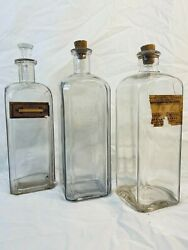 Medicine Antique Set Of 3 Drug Store Pharmacy Apothecary Jars Bottles Stoppers