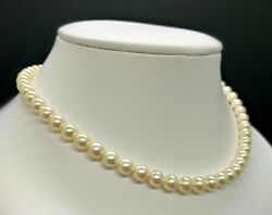 Solid 18kt White Gold Akoya Pearls 7-7.5mm 55pcs And Diamonds 4pcs 0.05ct Necklace