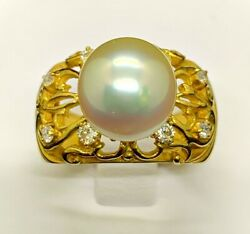 Solid 18kt Yellow Gold South Sea Pearl 10.4mm 1pc And Diamonds 8pcs 0.30ct Ring