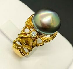 Solid 18kt Yellow Gold Tahiti Pearl 12mm 1pc And Diamonds 2pcs 0.12ct Ring