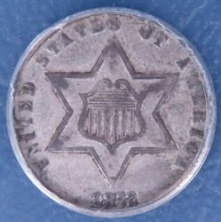 1872 Three Cent Silver. Anacs Ef40 Details. Corroded-cleaned, Lf1274a/ahn