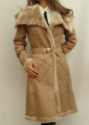 Versace Collection Lamb Leather Shearling Fur Coat Uk6 It40 New Rrpover 3000gbp