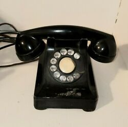Vintage Bell System Western Electric F1 302 Rotary Desk Phone Black Metal Dial
