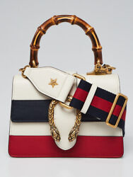White/blue/red Striped Leather Dionysus Xs Top Handle Bag