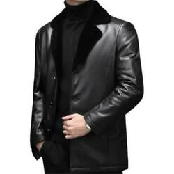 S-4xl Mens Lapel Wool Lined Work Genuine Sheep Leather Business Jackets Formal L