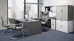 Bow Front U Shaped Desk With Hutch And Lateral File Storage Cabinet Many Colors