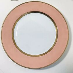 Fitz And Floyd Renaissance 10 3/8 Dinner Plate Peach And Gold Band- Retired Euc