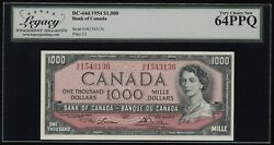 1954 Bank Of Canada 1000 Banknote - Legacy Very Choice New 64 Ppq - Catbc-44d
