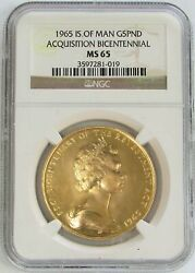 1965 Gold Isle Of Man 500 Minted 5 Pounds Ngc Mint State 65 Acquisition