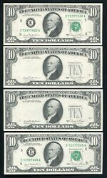 """4 Consecutive 1981 10 Frn's """"overprint On Back Errors"""" Gem Uncirculated"""