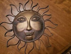Sun Face Wall Metal Art Hanging with Rustic Copper Finish 15quot;