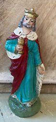Vintage Italy Paper Mache Fontanini Wise Man Nativity Christmas